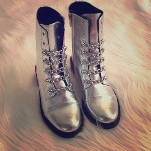 NEW Silver combat boots